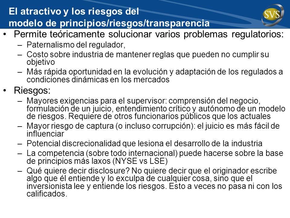 El atractivo y los riesgos del modelo de principios/riesgos/transparencia Permite teóricamente solucionar varios problemas regulatorios: –Paternalismo
