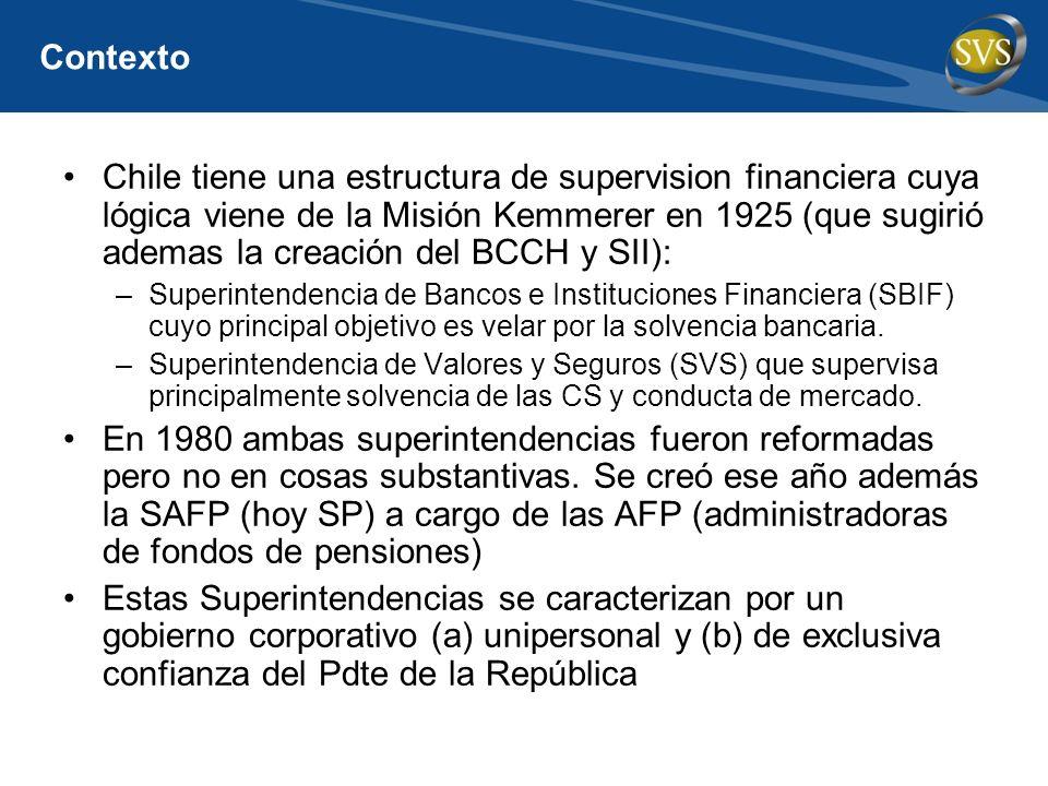 Contexto Chile tiene una estructura de supervision financiera cuya lógica viene de la Misión Kemmerer en 1925 (que sugirió ademas la creación del BCCH