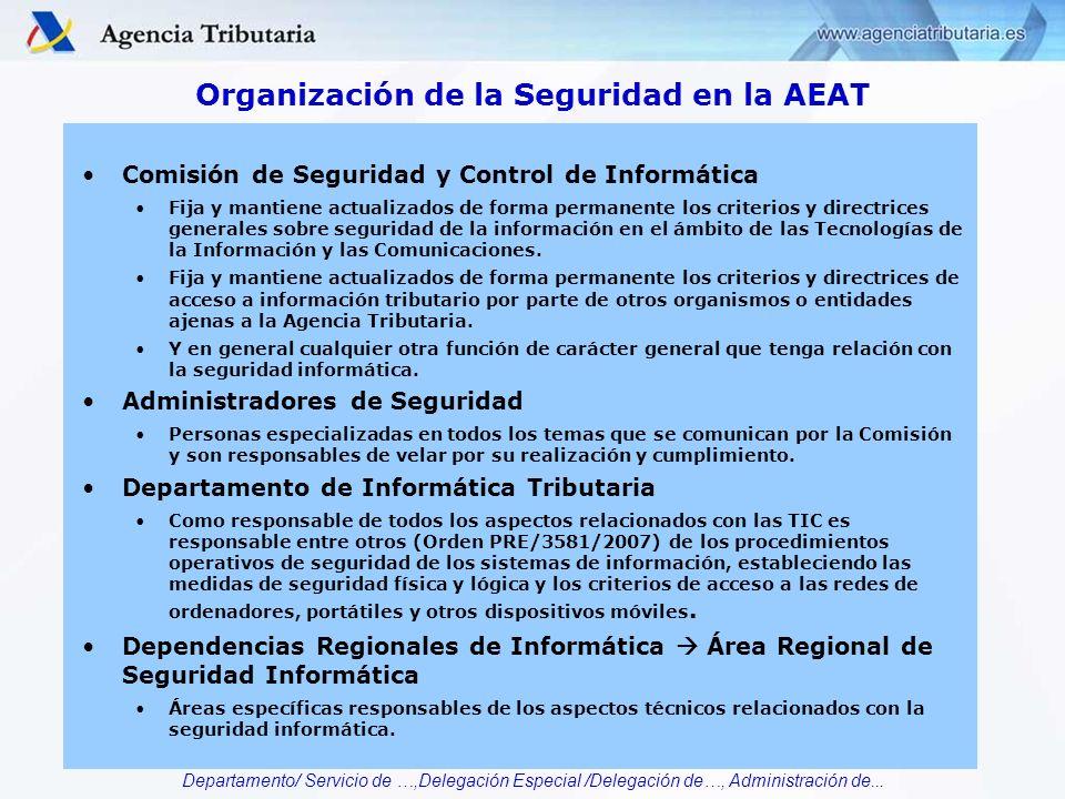 Departamento/ Servicio de …,Delegación Especial /Delegación de…, Administración de... Organización de la Seguridad en la AEAT Comisión de Seguridad y