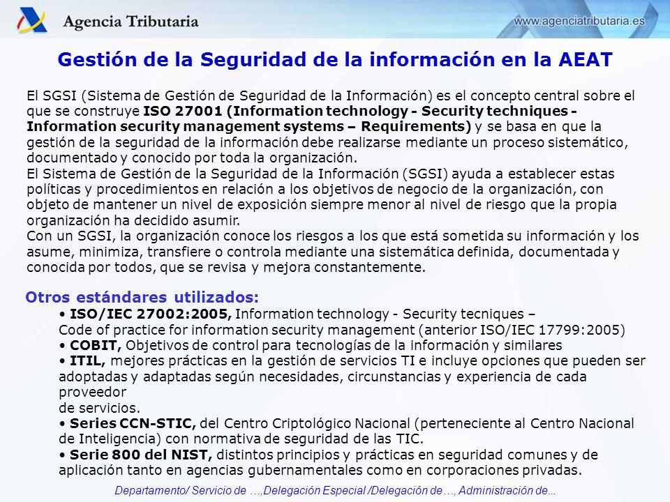 Departamento/ Servicio de …,Delegación Especial /Delegación de…, Administración de... Gestión de la Seguridad de la información en la AEAT El SGSI (Si