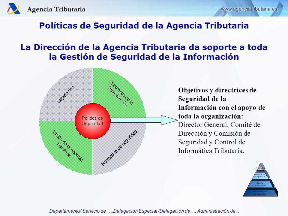 Departamento/ Servicio de …,Delegación Especial /Delegación de…, Administración de... Políticas de Seguridad de la Agencia Tributaria Objetivos y dire