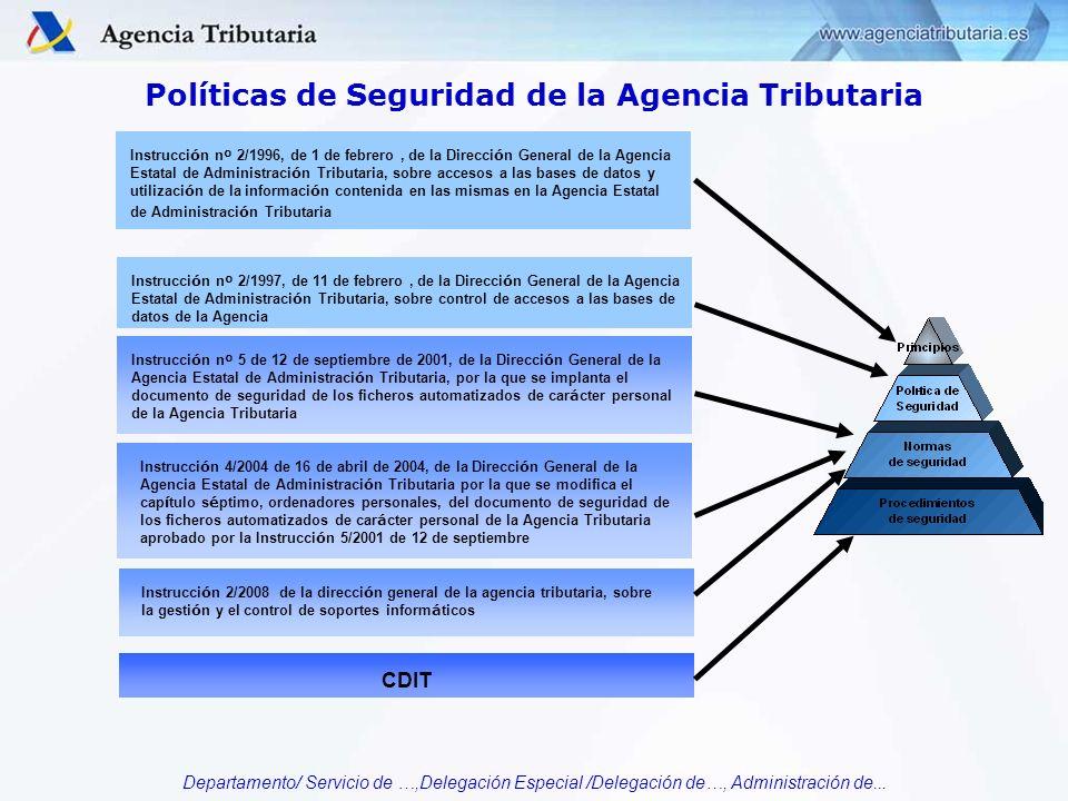 Departamento/ Servicio de …,Delegación Especial /Delegación de…, Administración de... Políticas de Seguridad de la Agencia Tributaria Instrucci ó n n