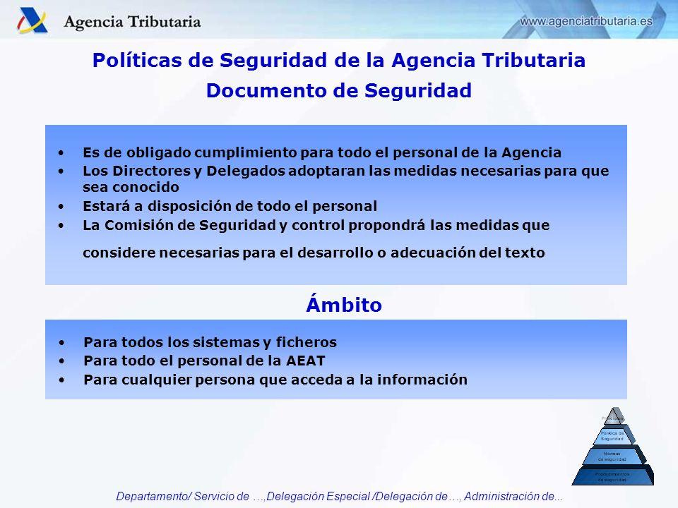 Departamento/ Servicio de …,Delegación Especial /Delegación de…, Administración de... Documento de Seguridad Es de obligado cumplimiento para todo el