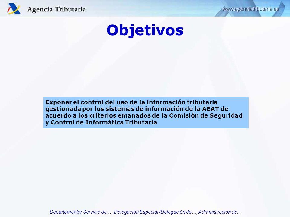 Departamento/ Servicio de …,Delegación Especial /Delegación de…, Administración de... Objetivos Exponer el control del uso de la información tributari