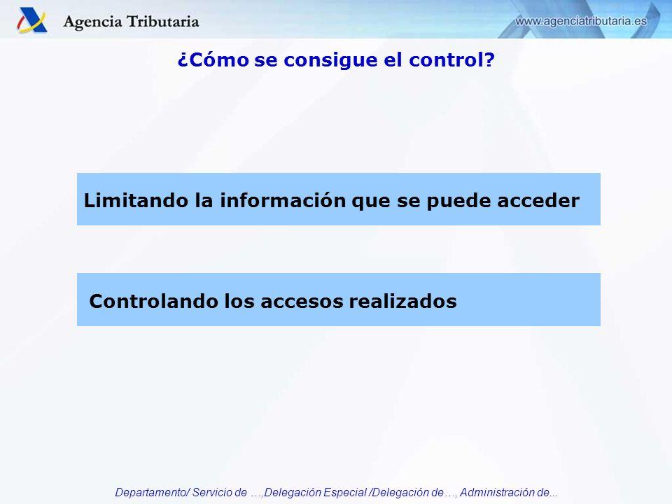 Departamento/ Servicio de …,Delegación Especial /Delegación de…, Administración de... ¿Cómo se consigue el control? Limitando la información que se pu