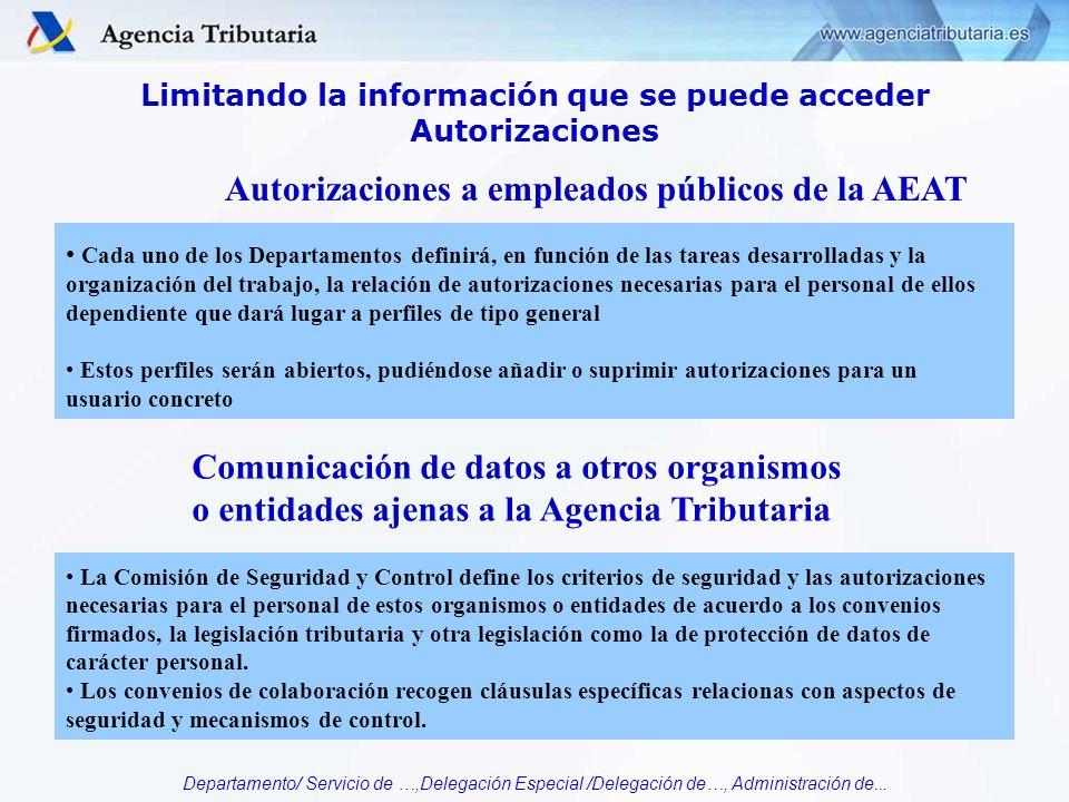 Departamento/ Servicio de …,Delegación Especial /Delegación de…, Administración de... Limitando la información que se puede acceder Autorizaciones Cad