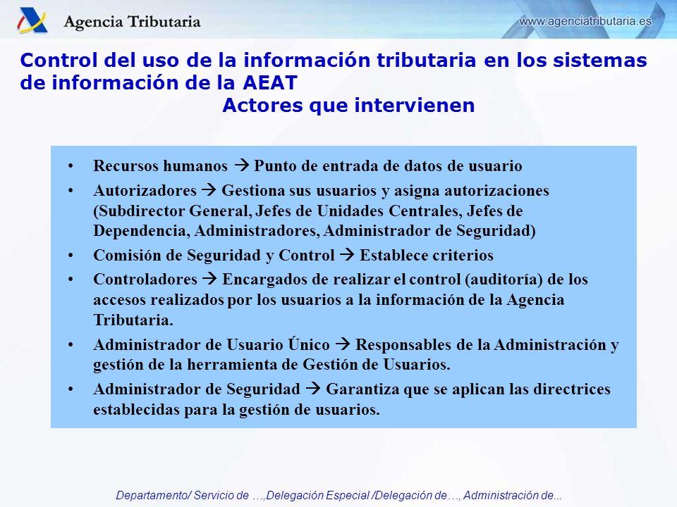 Departamento/ Servicio de …,Delegación Especial /Delegación de…, Administración de... Control del uso de la información tributaria en los sistemas de