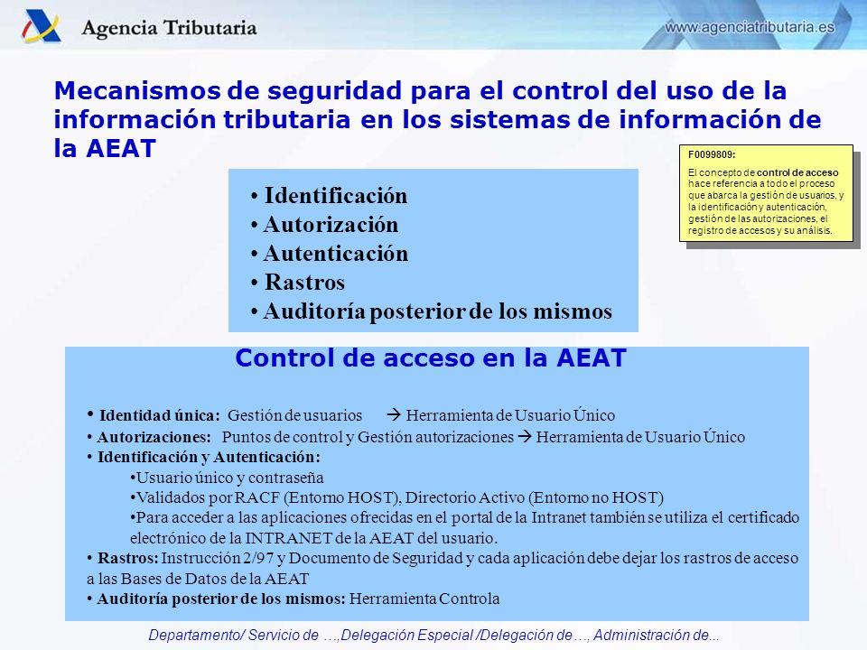 Departamento/ Servicio de …,Delegación Especial /Delegación de…, Administración de... Mecanismos de seguridad para el control del uso de la informació
