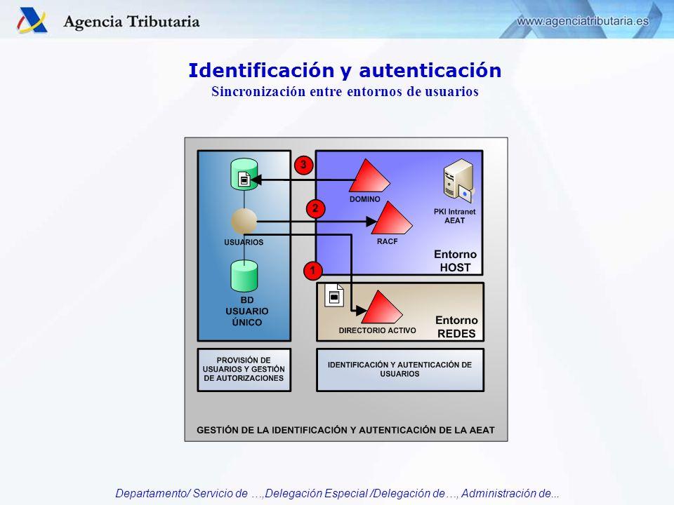Departamento/ Servicio de …,Delegación Especial /Delegación de…, Administración de... Identificación y autenticación Sincronización entre entornos de