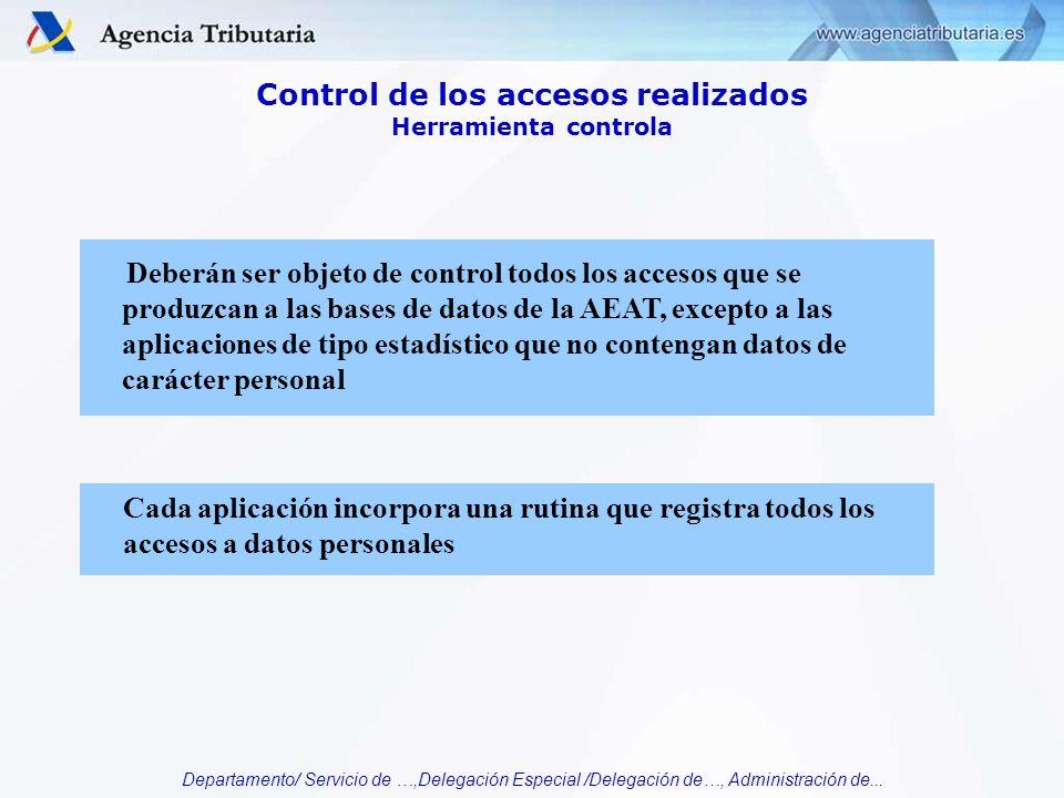Departamento/ Servicio de …,Delegación Especial /Delegación de…, Administración de... Control de los accesos realizados Herramienta controla Deberán s