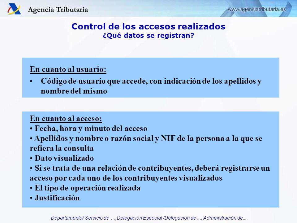 Departamento/ Servicio de …,Delegación Especial /Delegación de…, Administración de... Control de los accesos realizados ¿Qué datos se registran? En cu