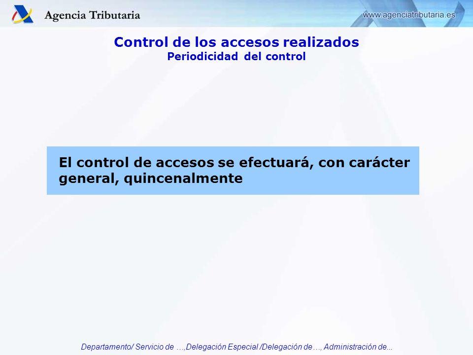 Departamento/ Servicio de …,Delegación Especial /Delegación de…, Administración de... El control de accesos se efectuará, con carácter general, quince