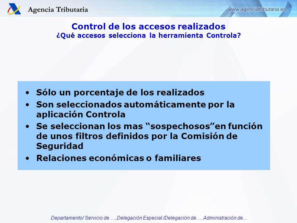 Departamento/ Servicio de …,Delegación Especial /Delegación de…, Administración de... Sólo un porcentaje de los realizados Son seleccionados automátic