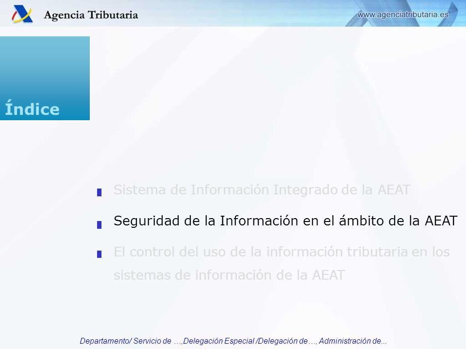 Departamento/ Servicio de …,Delegación Especial /Delegación de…, Administración de... Índice Sistema de Información Integrado de la AEAT Seguridad de