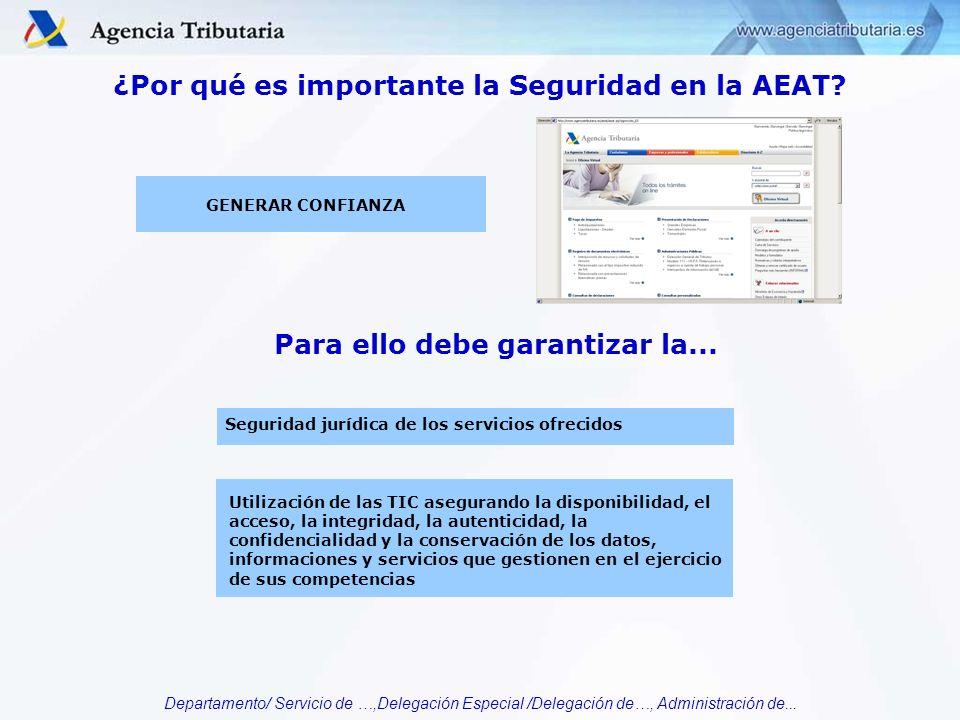 Departamento/ Servicio de …,Delegación Especial /Delegación de…, Administración de... ¿Por qué es importante la Seguridad en la AEAT? Seguridad jurídi