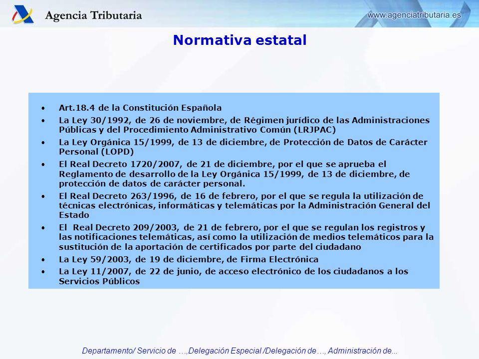 Departamento/ Servicio de …,Delegación Especial /Delegación de…, Administración de... Normativa estatal Art.18.4 de la Constitución Española La Ley 30