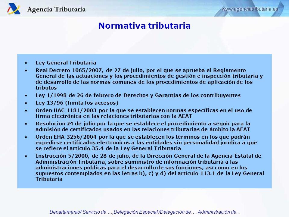 Departamento/ Servicio de …,Delegación Especial /Delegación de…, Administración de... Normativa tributaria Ley General Tributaria Real Decreto 1065/20