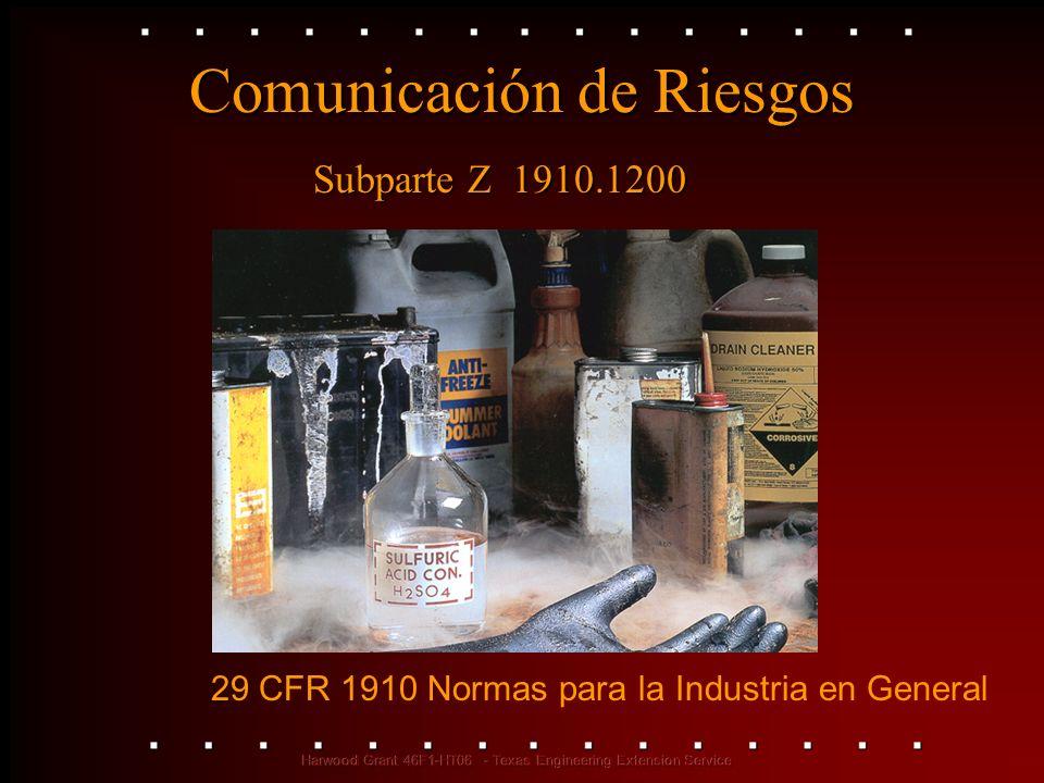 Comunicación de Riesgos 29 CFR 1910 Normas para la Industria en General Subparte Z 1910.1200