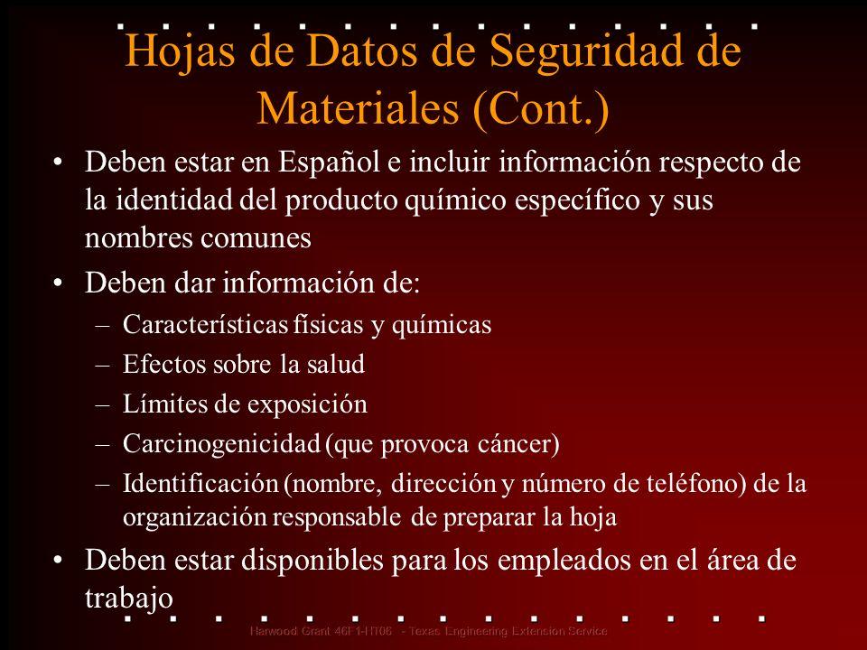 Hojas de Datos de Seguridad de Materiales (Cont.) Deben estar en Español e incluir información respecto de la identidad del producto químico específic