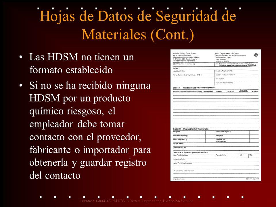 Hojas de Datos de Seguridad de Materiales (Cont.) Las HDSM no tienen un formato establecido Si no se ha recibido ninguna HDSM por un producto químico