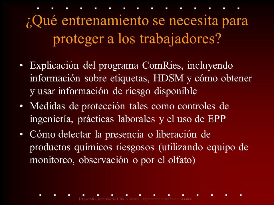¿Qué entrenamiento se necesita para proteger a los trabajadores? Explicación del programa ComRies, incluyendo información sobre etiquetas, HDSM y cómo