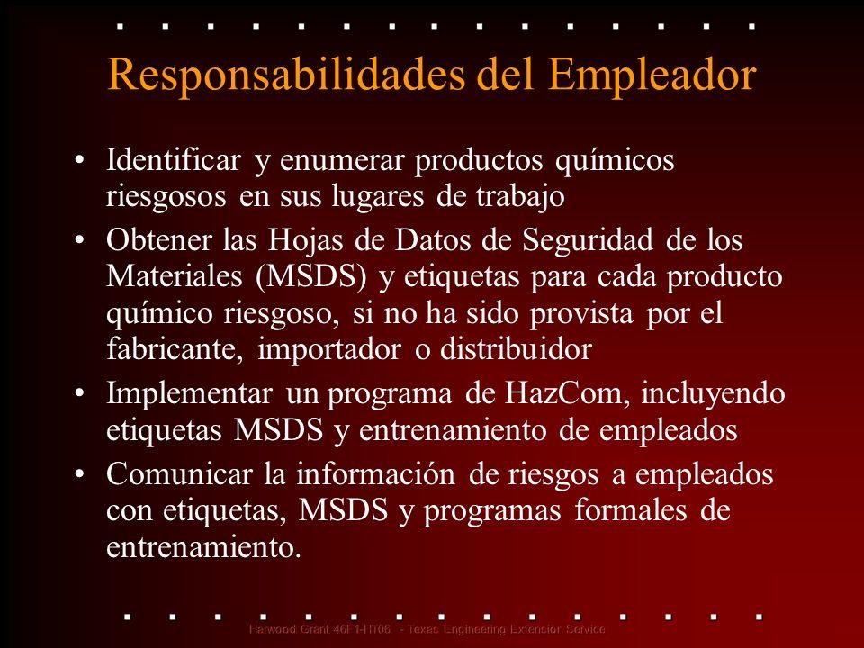 Responsabilidades del Empleador Identificar y enumerar productos químicos riesgosos en sus lugares de trabajo Obtener las Hojas de Datos de Seguridad