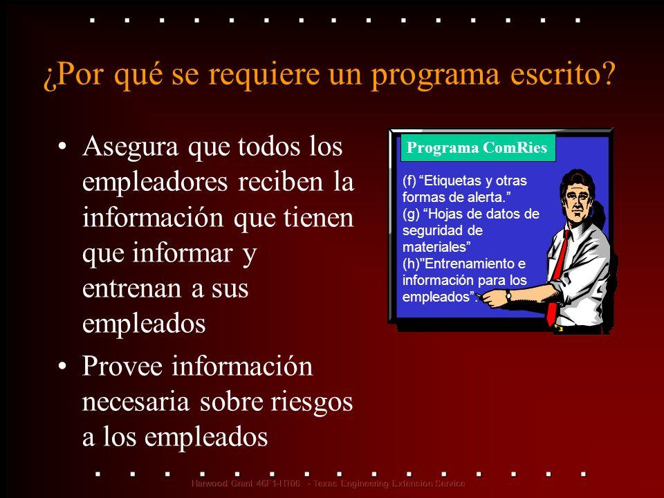 ¿Por qué se requiere un programa escrito? Asegura que todos los empleadores reciben la información que tienen que informar y entrenan a sus empleados