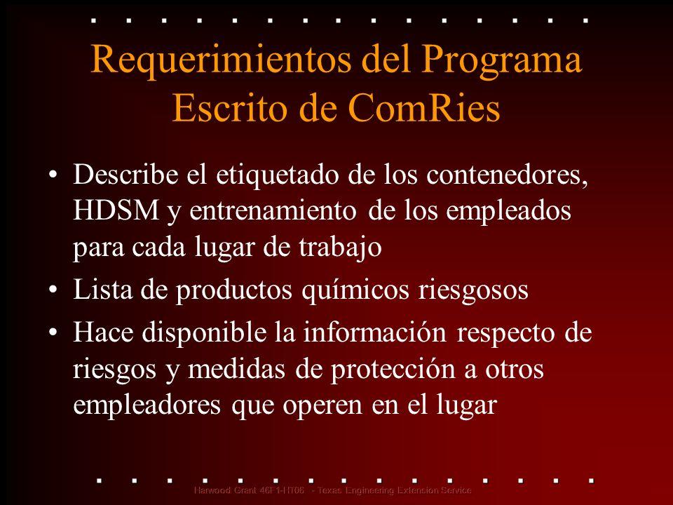Requerimientos del Programa Escrito de ComRies Describe el etiquetado de los contenedores, HDSM y entrenamiento de los empleados para cada lugar de tr