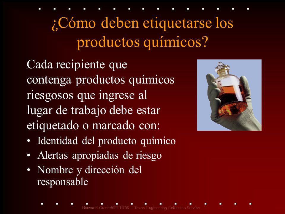 ¿Cómo deben etiquetarse los productos químicos? Identidad del producto químico Alertas apropiadas de riesgo Nombre y dirección del responsable Cada re
