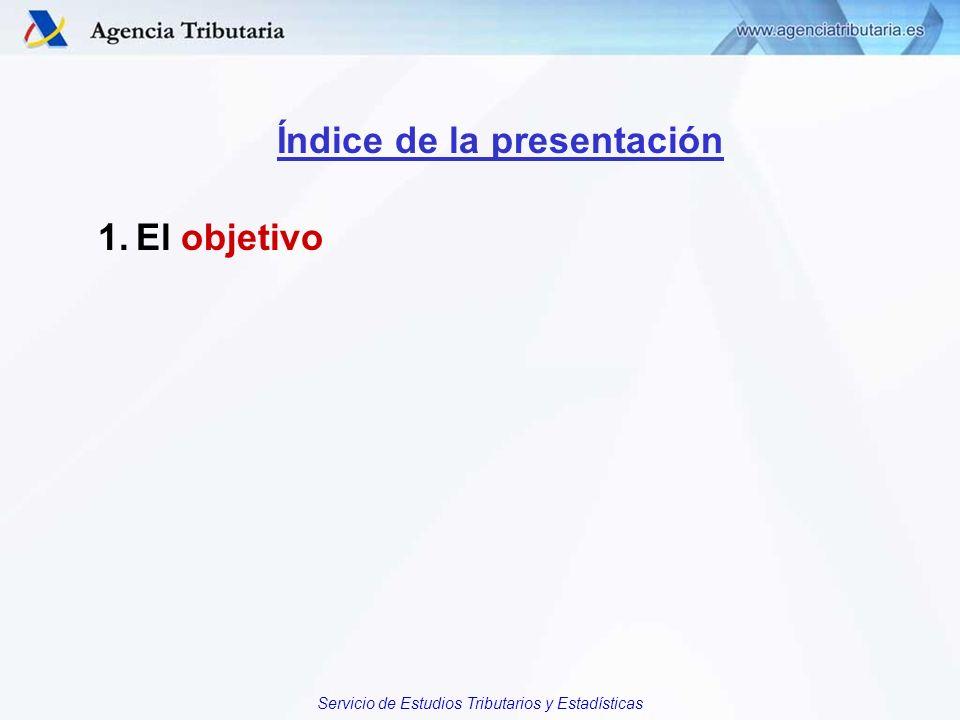 Servicio de Estudios Tributarios y Estadísticas Índice de la presentación 1.El objetivo