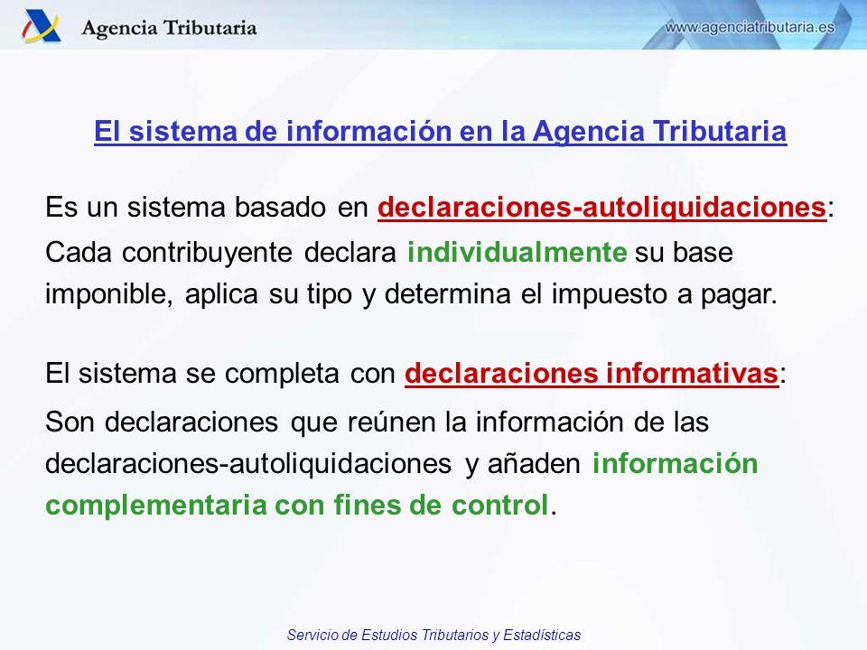 Servicio de Estudios Tributarios y Estadísticas El sistema de información en la Agencia Tributaria Es un sistema basado en declaraciones-autoliquidaci