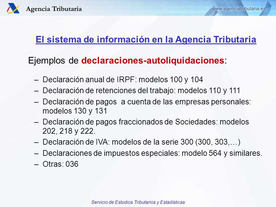 Servicio de Estudios Tributarios y Estadísticas El sistema de información en la Agencia Tributaria Ejemplos de declaraciones-autoliquidaciones: –Decla