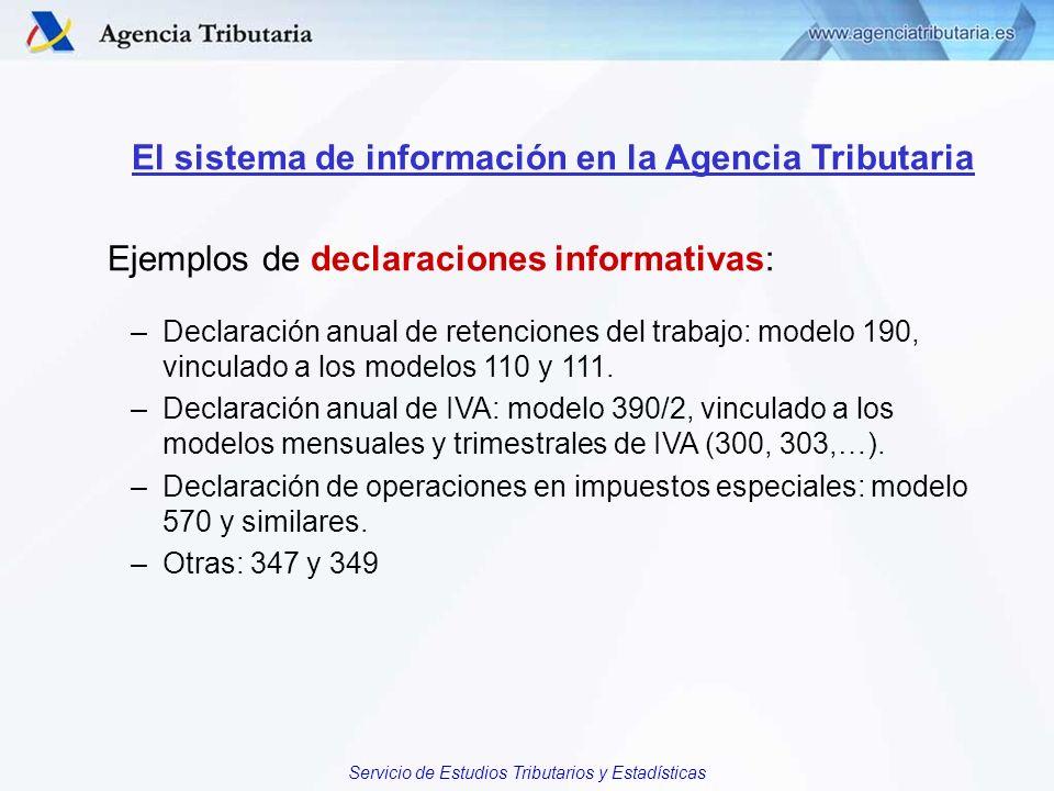 Servicio de Estudios Tributarios y Estadísticas El sistema de información en la Agencia Tributaria Ejemplos de declaraciones informativas: –Declaració