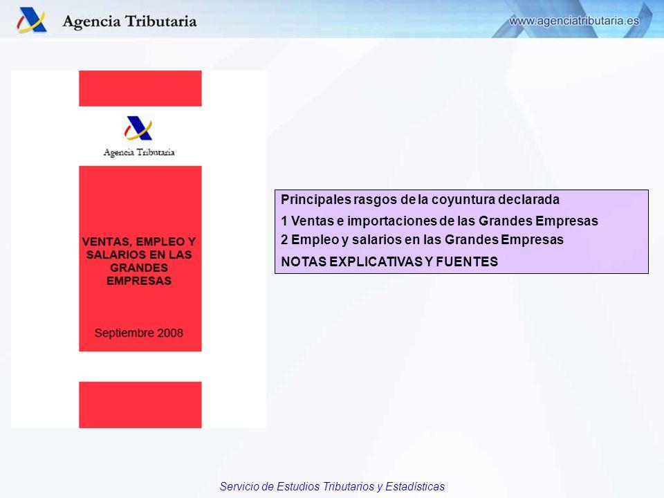 Servicio de Estudios Tributarios y Estadísticas Principales rasgos de la coyuntura declarada 1 Ventas e importaciones de las Grandes Empresas 2 Empleo