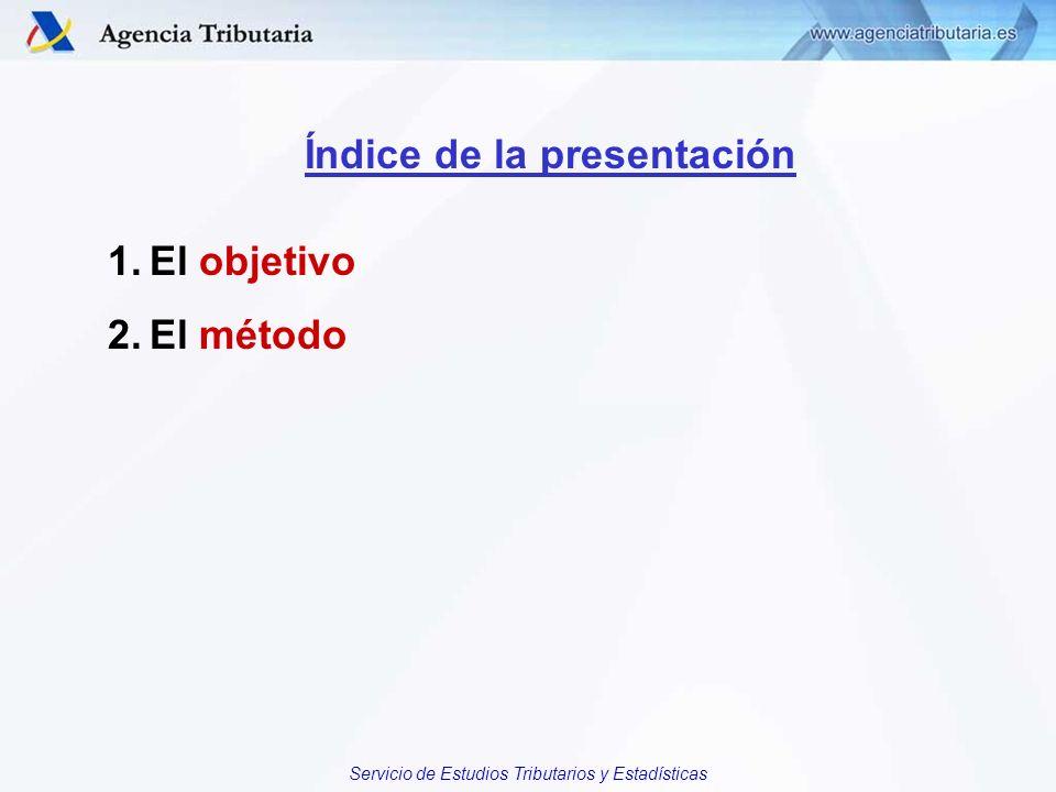 Servicio de Estudios Tributarios y Estadísticas Índice de la presentación 1.El objetivo 2.El método