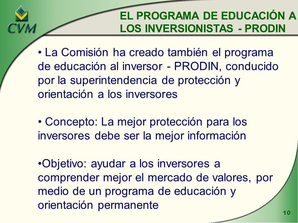 10 La Comisión ha creado también el programa de educación al inversor - PRODIN, conducido por la superintendencia de protección y orientación a los inversores Concepto: La mejor protección para los inversores debe ser la mejor información Objetivo: ayudar a los inversores a comprender mejor el mercado de valores, por medio de un programa de educación y orientación permanente EL PROGRAMA DE EDUCACIÓN A LOS INVERSIONISTAS - PRODIN