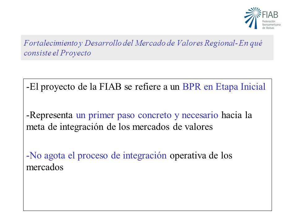 Fortalecimiento y Desarrollo del Mercado de Valores Regional- En qué consiste el Proyecto -El proyecto de la FIAB se refiere a un BPR en Etapa Inicial