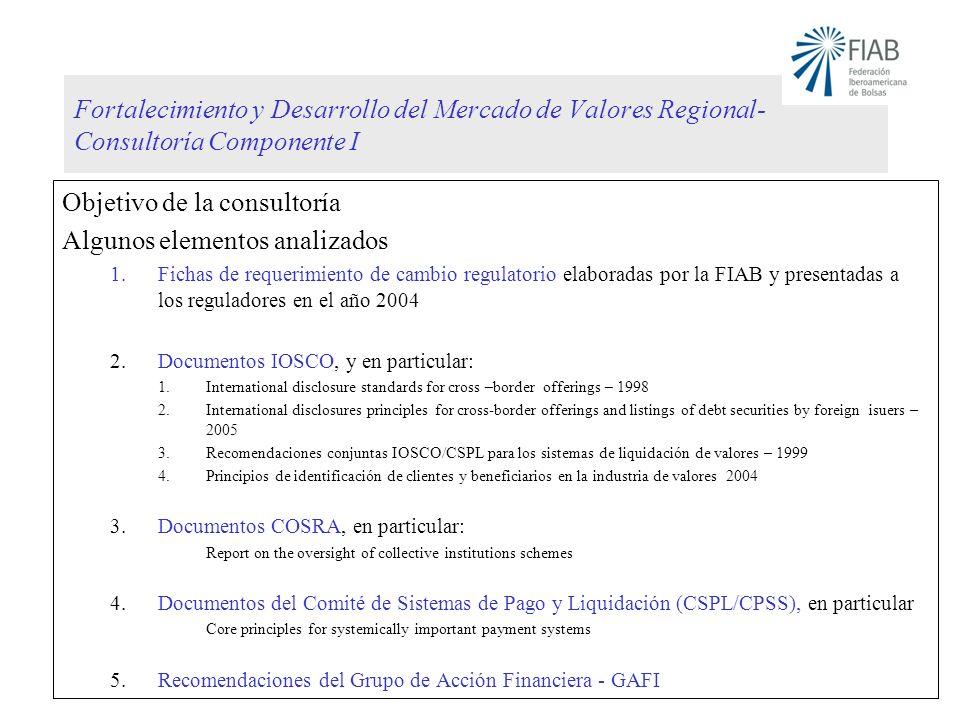 Fortalecimiento y Desarrollo del Mercado de Valores Regional- Consultoría Componente I Objetivo de la consultoría Algunos elementos analizados 1.Ficha