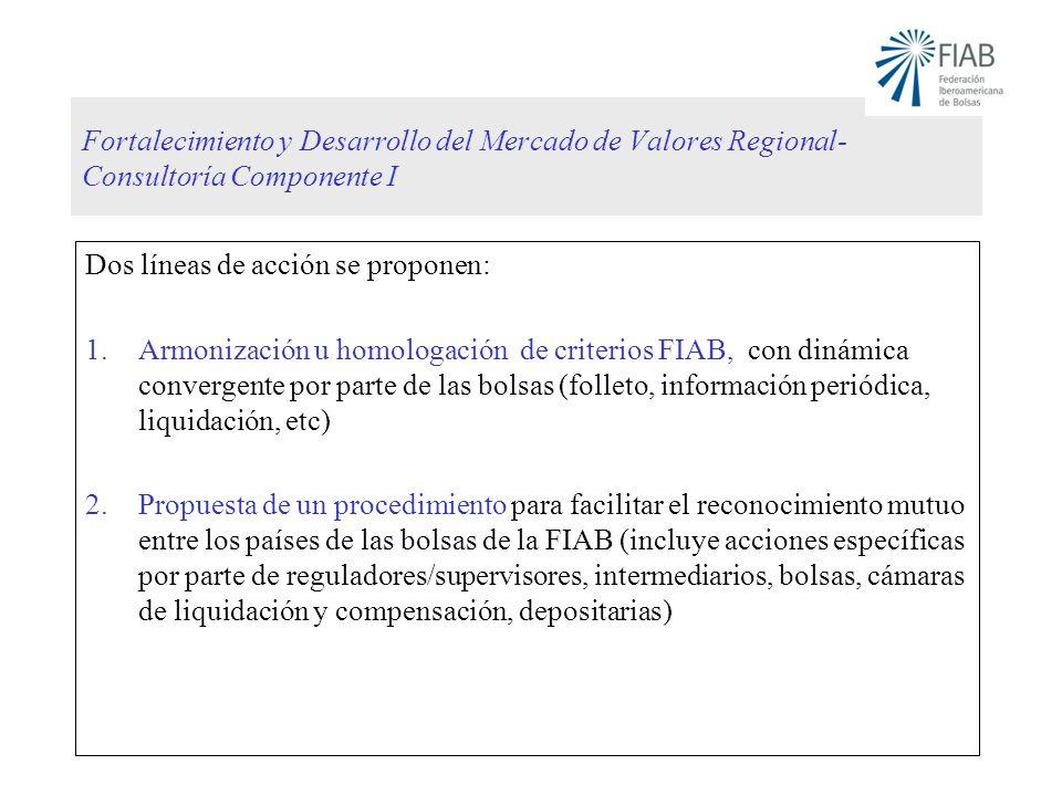Fortalecimiento y Desarrollo del Mercado de Valores Regional- Consultoría Componente I Dos líneas de acción se proponen: 1.Armonización u homologación