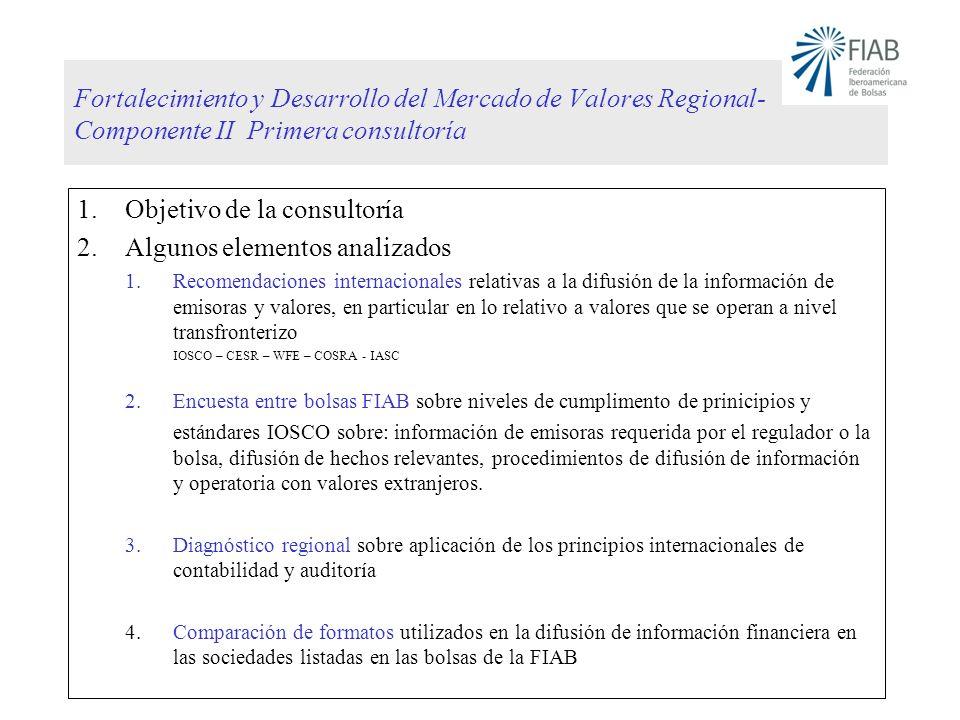 Fortalecimiento y Desarrollo del Mercado de Valores Regional- Componente II Primera consultoría 1.Objetivo de la consultoría 2.Algunos elementos anali