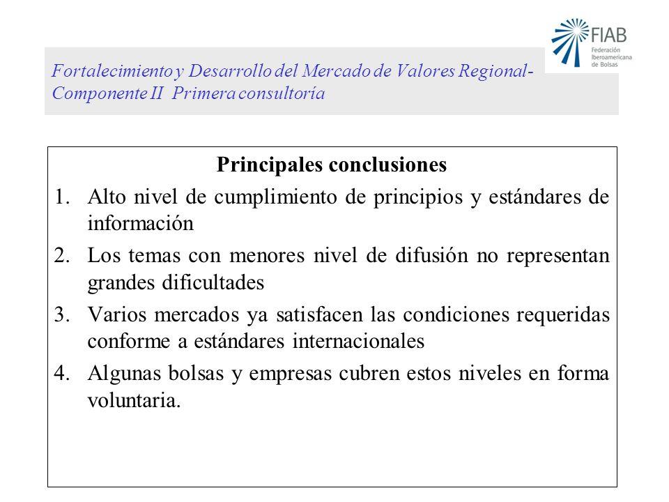Fortalecimiento y Desarrollo del Mercado de Valores Regional- Componente II Primera consultoría Principales conclusiones 1.Alto nivel de cumplimiento