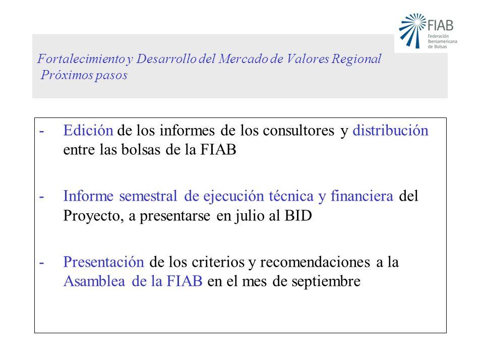 Fortalecimiento y Desarrollo del Mercado de Valores Regional Próximos pasos -Edición de los informes de los consultores y distribución entre las bolsa