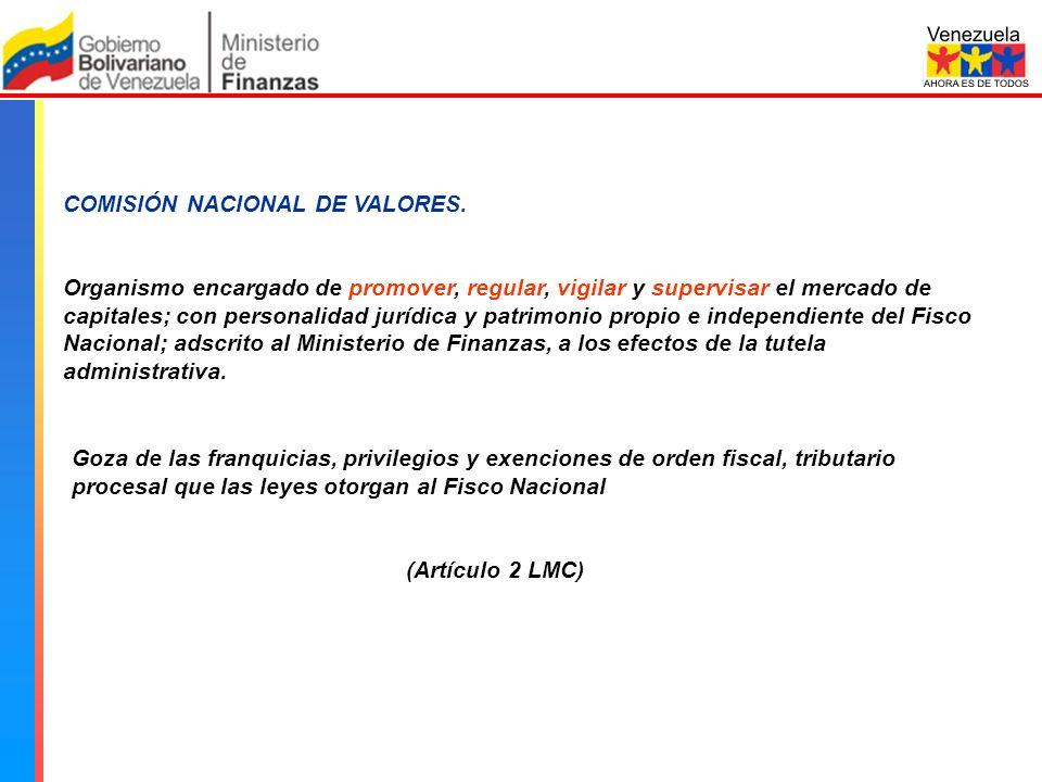 Comisión Nacional de Valores 23% 45% FUENTE: BOLSA DE VALORES DE CARACAS, BLOOMBERG 13% 5% AGENCIA BLOOMBERG: EL IBC DE LA BOLSA DE VALORES DE CARACAS, C.A.