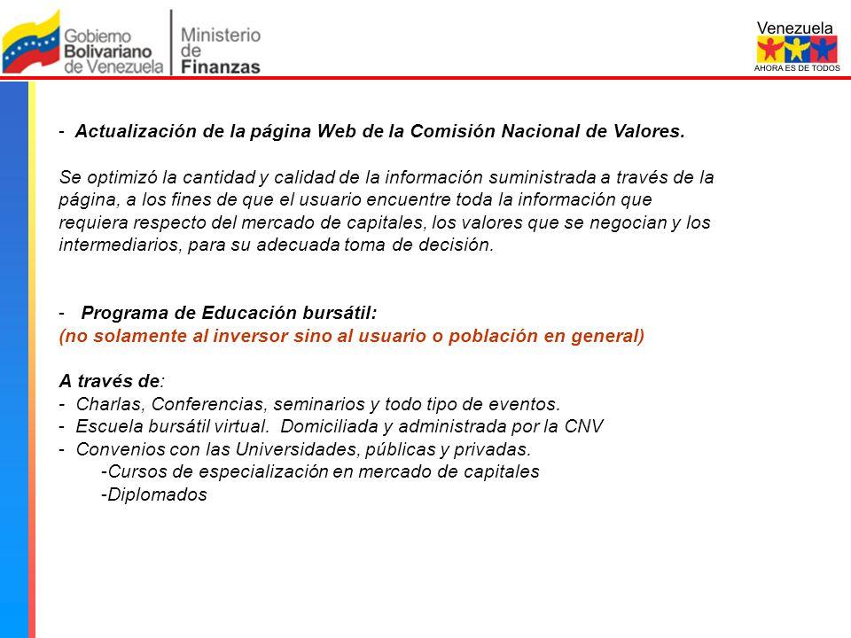 Comisión Nacional de Valores - Actualización de la página Web de la Comisión Nacional de Valores.