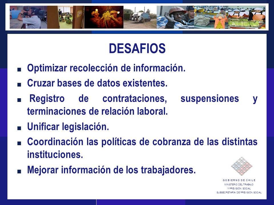 G O B I E R N O D E C H I L E MINISTERIO DEL TRABAJO Y PREVISIÓN SOCIAL SUBSECRETARÍA DE´PREVISIÓN SOCIAL DESAFIOS Optimizar recolección de información.