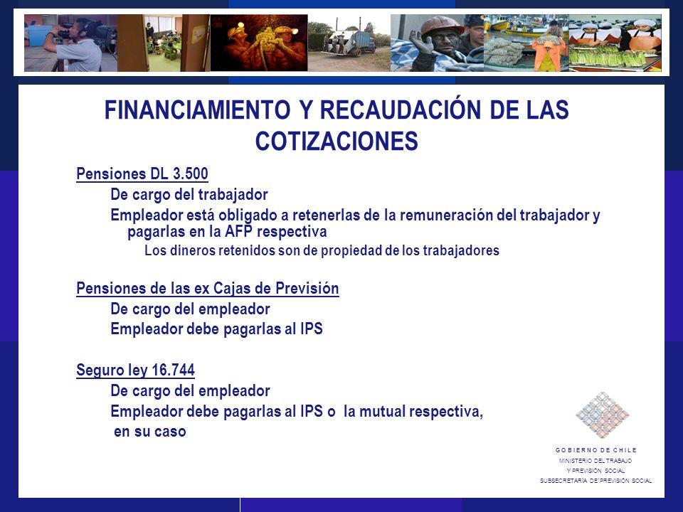 G O B I E R N O D E C H I L E MINISTERIO DEL TRABAJO Y PREVISIÓN SOCIAL SUBSECRETARÍA DE´PREVISIÓN SOCIAL FINANCIAMIENTO Y RECAUDACIÓN DE LAS COTIZACIONES Pensiones DL 3.500 De cargo del trabajador Empleador está obligado a retenerlas de la remuneración del trabajador y pagarlas en la AFP respectiva Los dineros retenidos son de propiedad de los trabajadores Pensiones de las ex Cajas de Previsión De cargo del empleador Empleador debe pagarlas al IPS Seguro ley 16.744 De cargo del empleador Empleador debe pagarlas al IPS o la mutual respectiva, en su caso
