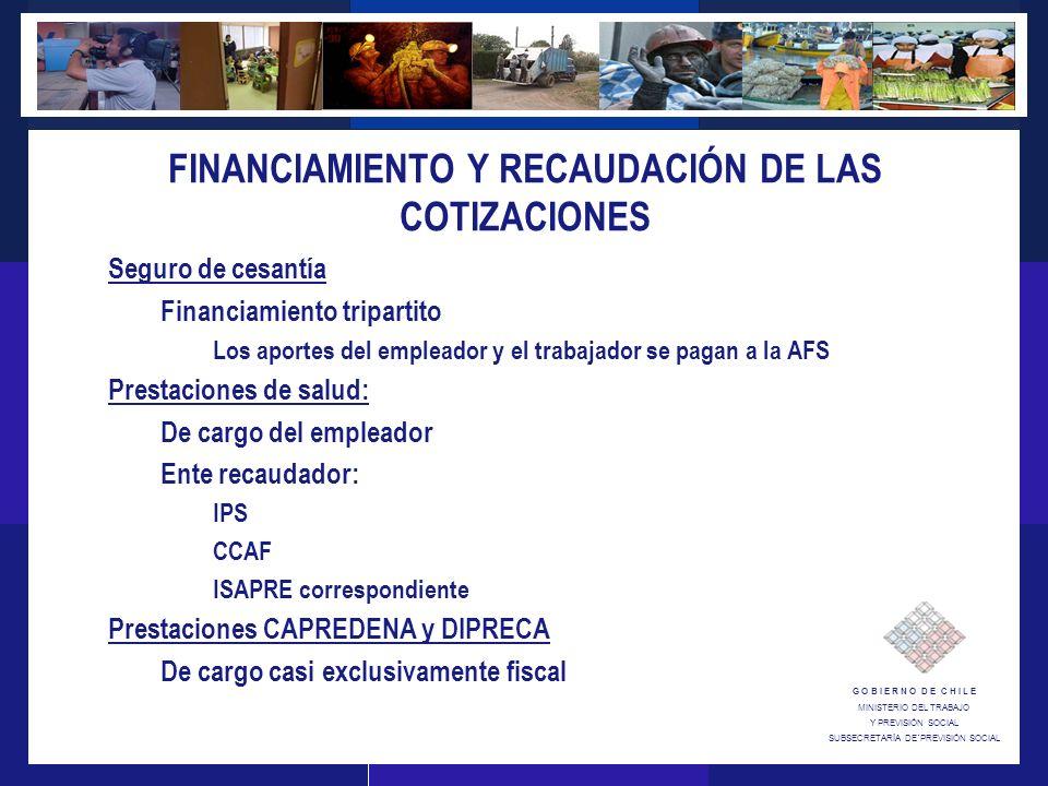 G O B I E R N O D E C H I L E MINISTERIO DEL TRABAJO Y PREVISIÓN SOCIAL SUBSECRETARÍA DE´PREVISIÓN SOCIAL FINANCIAMIENTO Y RECAUDACIÓN DE LAS COTIZACIONES Seguro de cesantía Financiamiento tripartito Los aportes del empleador y el trabajador se pagan a la AFS Prestaciones de salud: De cargo del empleador Ente recaudador: IPS CCAF ISAPRE correspondiente Prestaciones CAPREDENA y DIPRECA De cargo casi exclusivamente fiscal