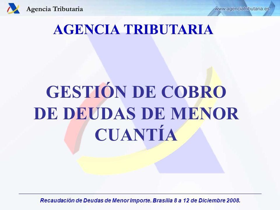 Recaudación de Deudas de Menor Importe. Brasilia 8 a 12 de Diciembre 2008. AGENCIA TRIBUTARIA GESTIÓN DE COBRO DE DEUDAS DE MENOR CUANTÍA