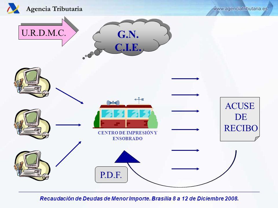 Recaudación de Deudas de Menor Importe. Brasilia 8 a 12 de Diciembre 2008. U.R.D.M.C. G.N. C.I.E. G.N. C.I.E. CENTRO DE IMPRESIÓN Y ENSOBRADO ACUSE DE