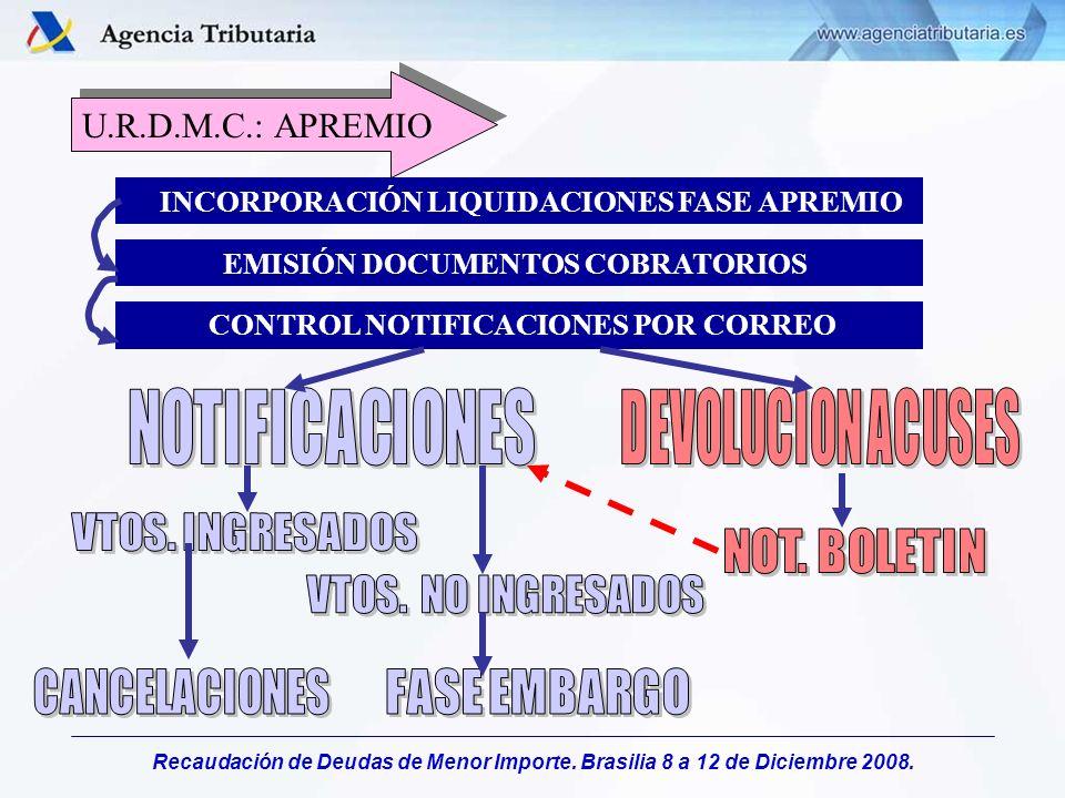 Recaudación de Deudas de Menor Importe. Brasilia 8 a 12 de Diciembre 2008. INCORPORACIÓN LIQUIDACIONES FASE APREMIO EMISIÓN DOCUMENTOS COBRATORIOS CON